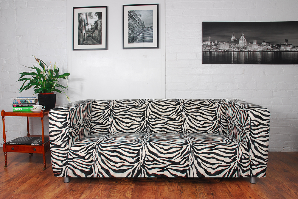 Zebra print sofa zebra print fabric sofa bed futon thesofa for Zebra sectional sofa