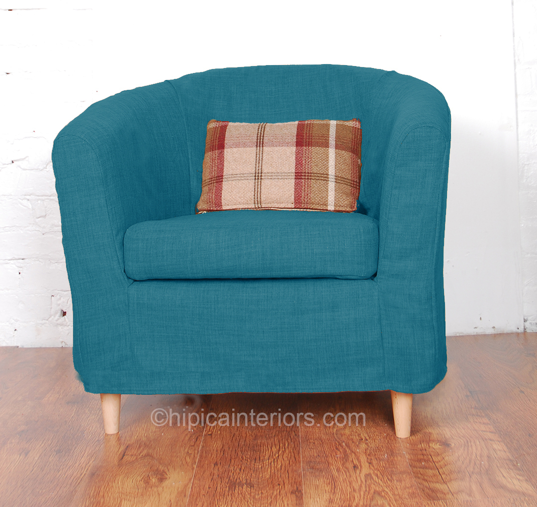 Jerez Linen Look Tullsta Tub Chair Cover- Teal - Hipica Interiors