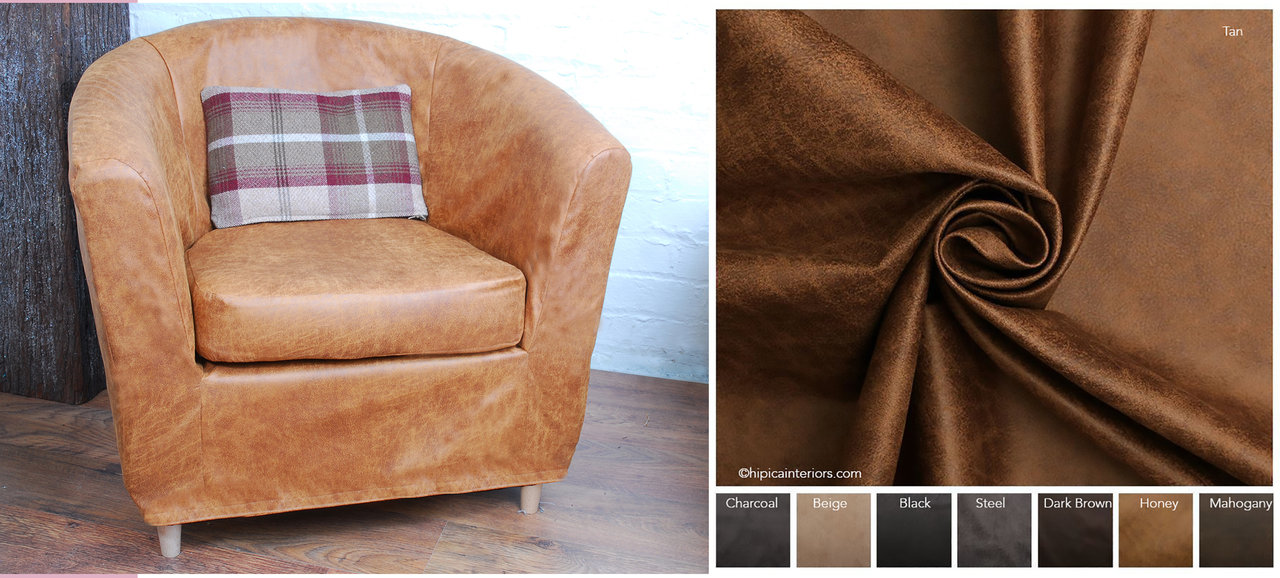 Distressed Vintage Faux Leather Cover To Fit The Ikea Tullsta Tub Chair