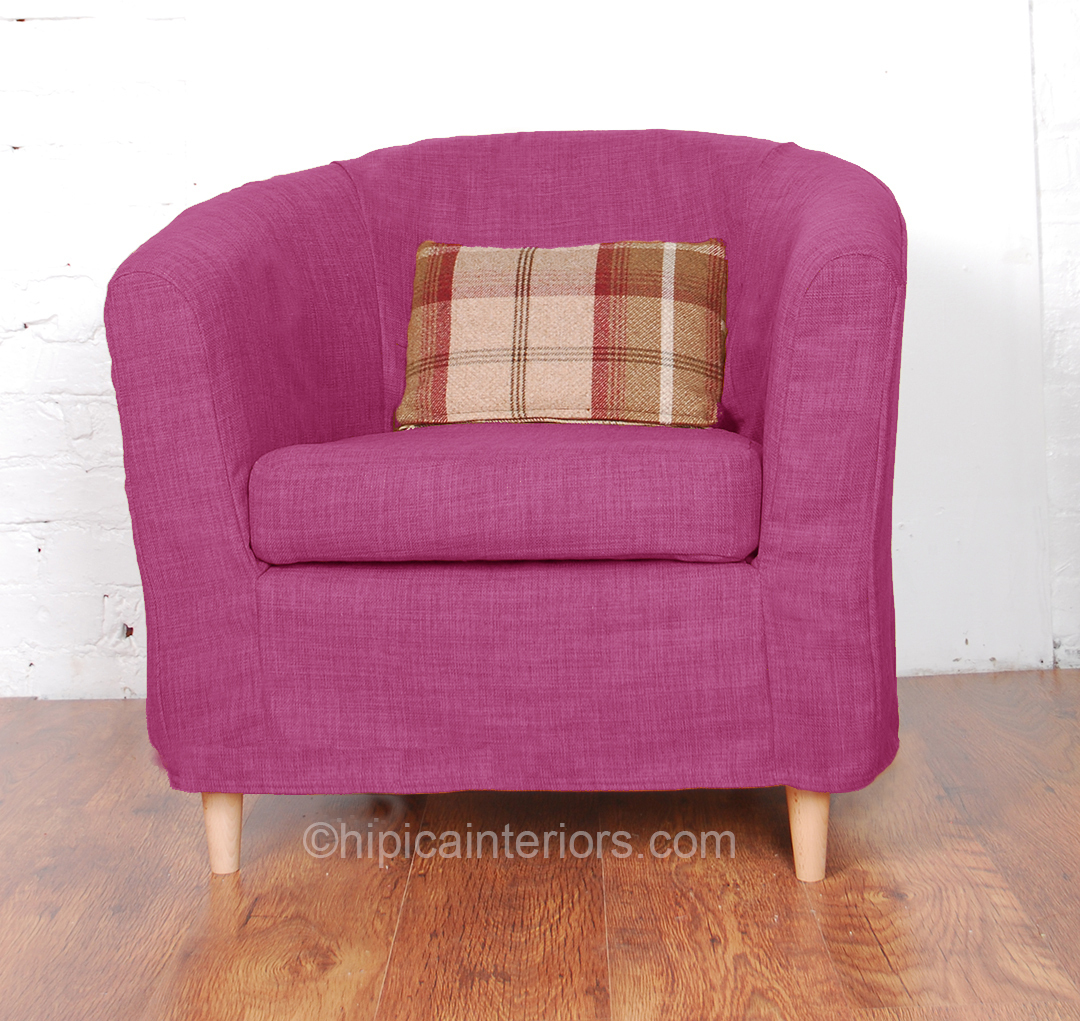 Orchid Pink Jerez Linen Look Tullsta Tub Chair Cover - Hipica Interiors