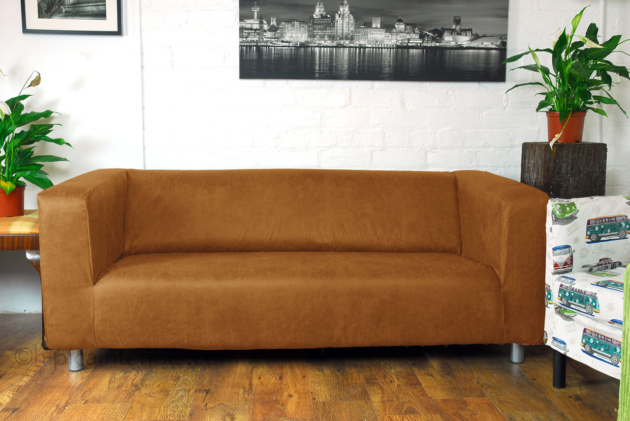 Distressed Faux Leather Look Klippan Sofa Cover Honey
