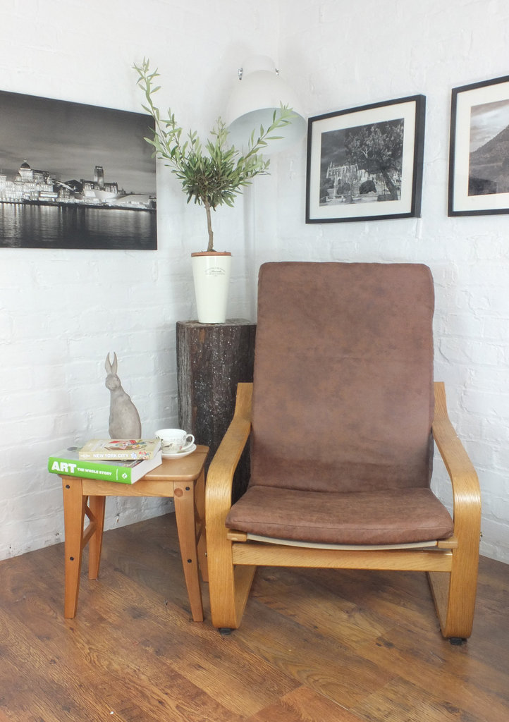 Tan Vintage Distressed Faux Leather Poang Chair Cover