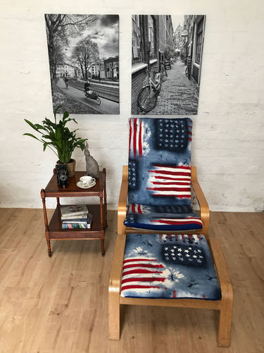 Ikea Poang cover in USA Old Glory Cotton fabric